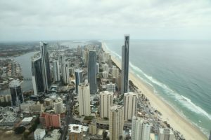 A view of the beach of city at the Gold Coast