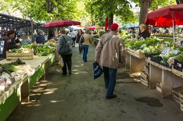Head to a local farmers market to purchase fresh produce and food.